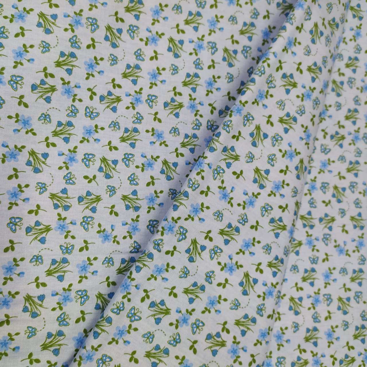 Tricoline Floral Azul 10 metros