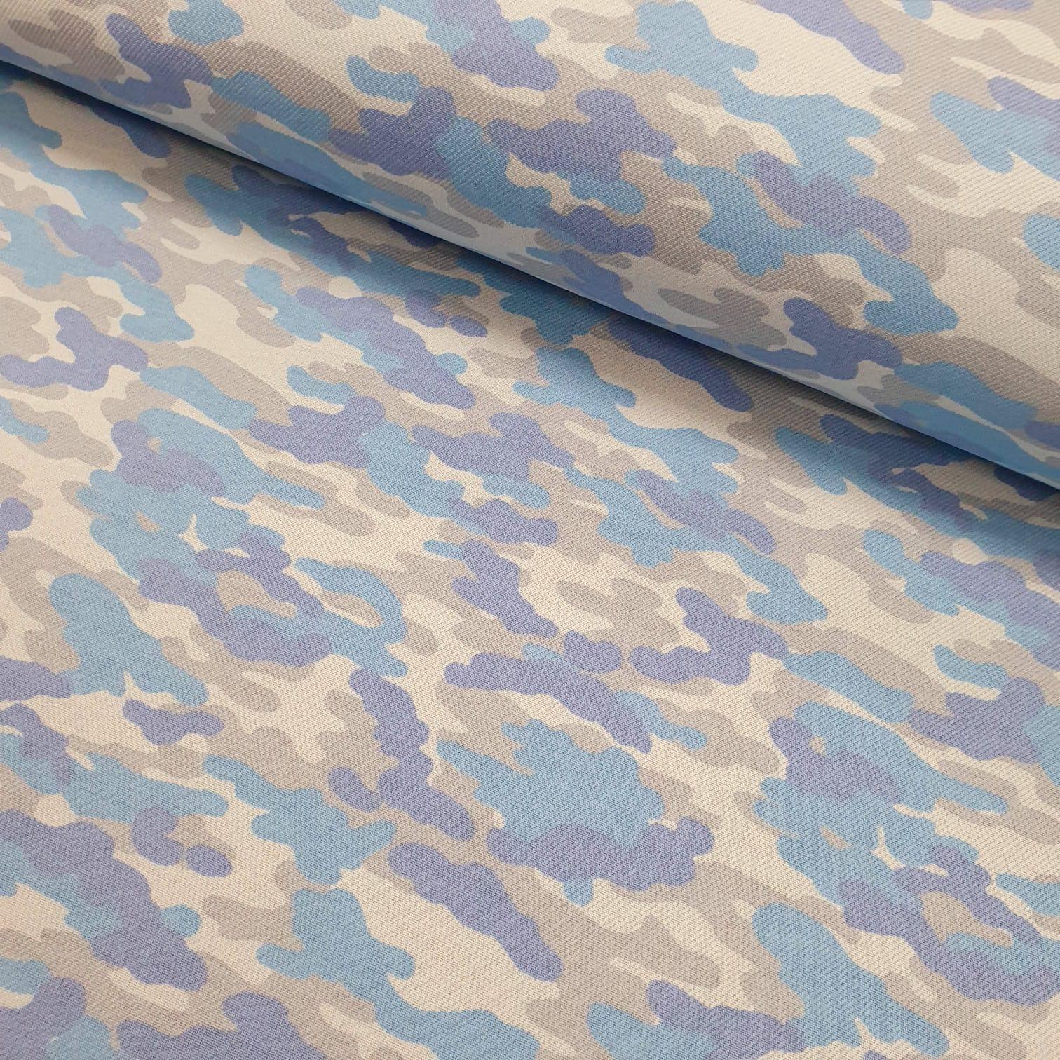 Flanela Cueiro Camuflado Azul Bebe