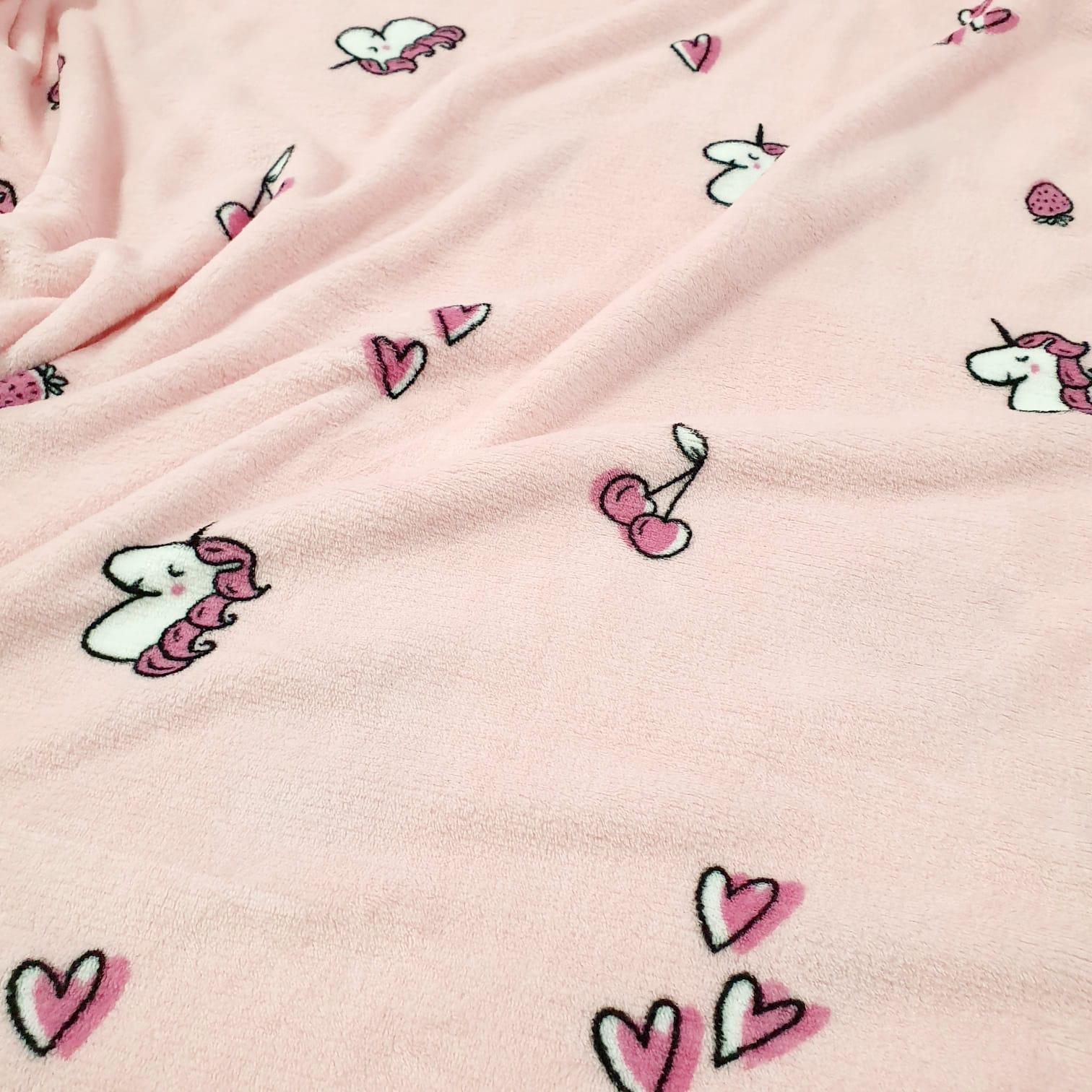 Malha Soft Unicórnio Rosa