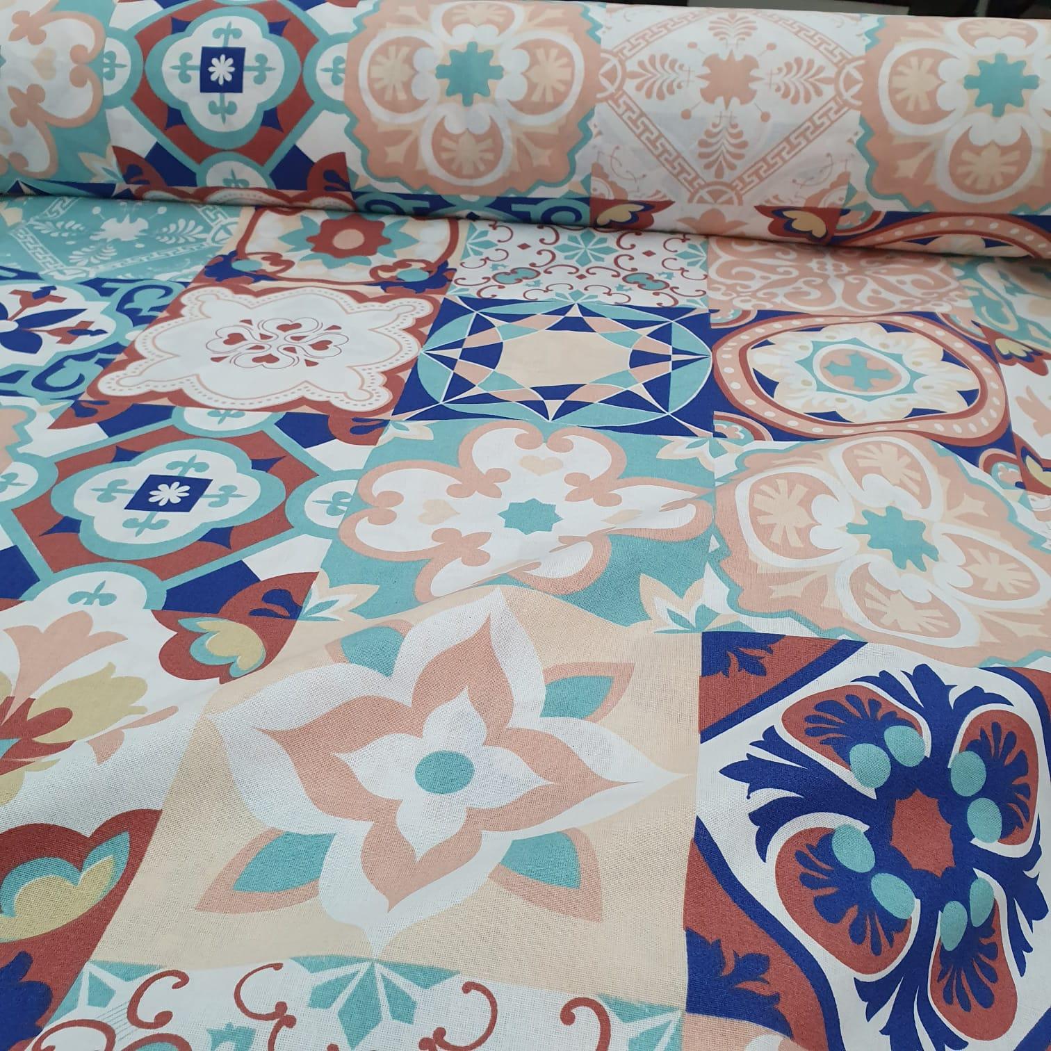 Percal 150 Fios Patchwork Azulejos
