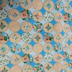 Tricoline Pachtwork Floral Azul 10 metros
