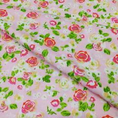 Tricoline Rosas Fundo Rosa 10 metros