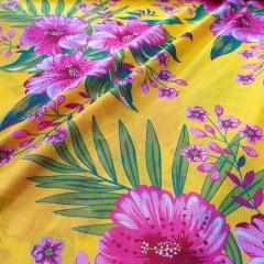 Chita Algodão Amarela com Flores Rosa