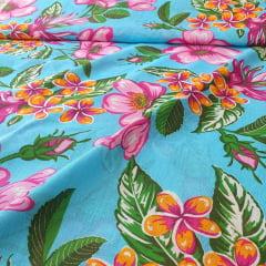 Chita Algodão Flores Fundo Azul Celeste