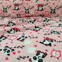 Malha Soft Urso Panda Rosa