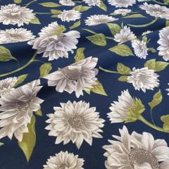 Percal 150 Fios Azul Marinho Floral