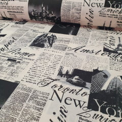 Percal 150 Fios Estampa Jornal