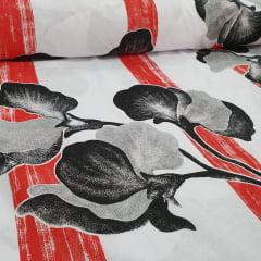 Percal 150 Fios Vermelho Floral