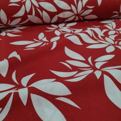 Percal 150 Fios Vermelho Folhas