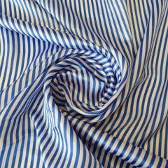 Cetim Listrado com Azul e Branco