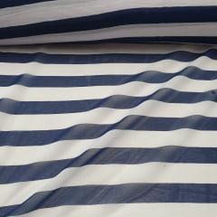 Chiffon Estampado Listrado Azul Marinho
