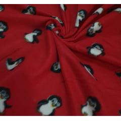 Tecido Soft Novo Pinguim fundo Vermelho