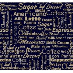 Tricoline Exclusiva Coffee Letras Azul Marinho
