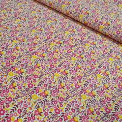 Tricoline Mista Florzinhas Rosas e Amarelas