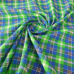 Tricoline Mista Xadrez Azul e Verde