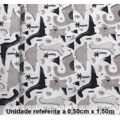 Tricoline Dinossauros Preto e Branco