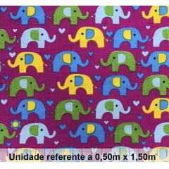 Tricoline Elefante Colorido Fundo Pink