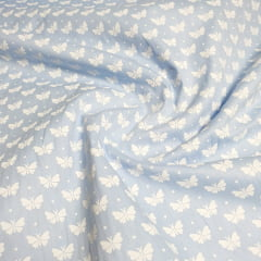 Tricoline Borboleta Azul Bebê