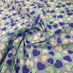 Tricoline Coração Azul e Verde