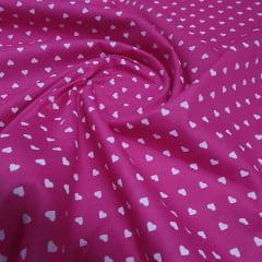 Tricoline Coração Rosa Pink