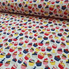 Tricoline Cupcakes fundo Branco