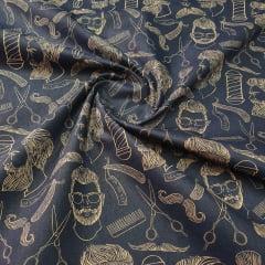 Tricoline Exclusiva Marantex Barbearia fundo Azul Marinho