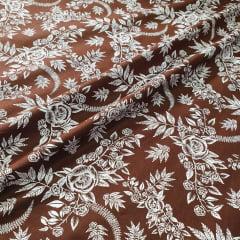Tricoline Floral Marrom