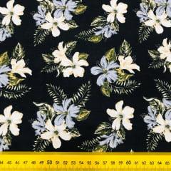 Tricoline Floral Preto e Amarelo G