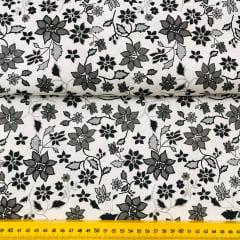 Tricoline Floral Preto e Branco