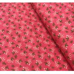 Tricoline Flores Rosa e Verde
