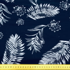 Tricoline Folhas Azul Marinho G