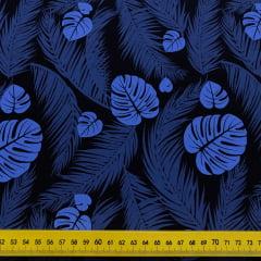 Tricoline Folhas Grandes Azul Marinho