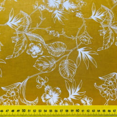 Tricoline Grandes Folhas Amarelo