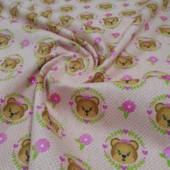 Tricoline Urso com Coroa Rosa