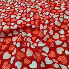 Tricoline Coração Vermelhos