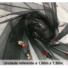 Tule Bordado Preto Floral