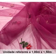 Tule Bordado Rosa Floral