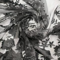 Tule Bordado Flores e Folhas Preto