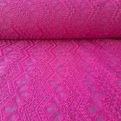 Tule Bordado Geométrico Pink