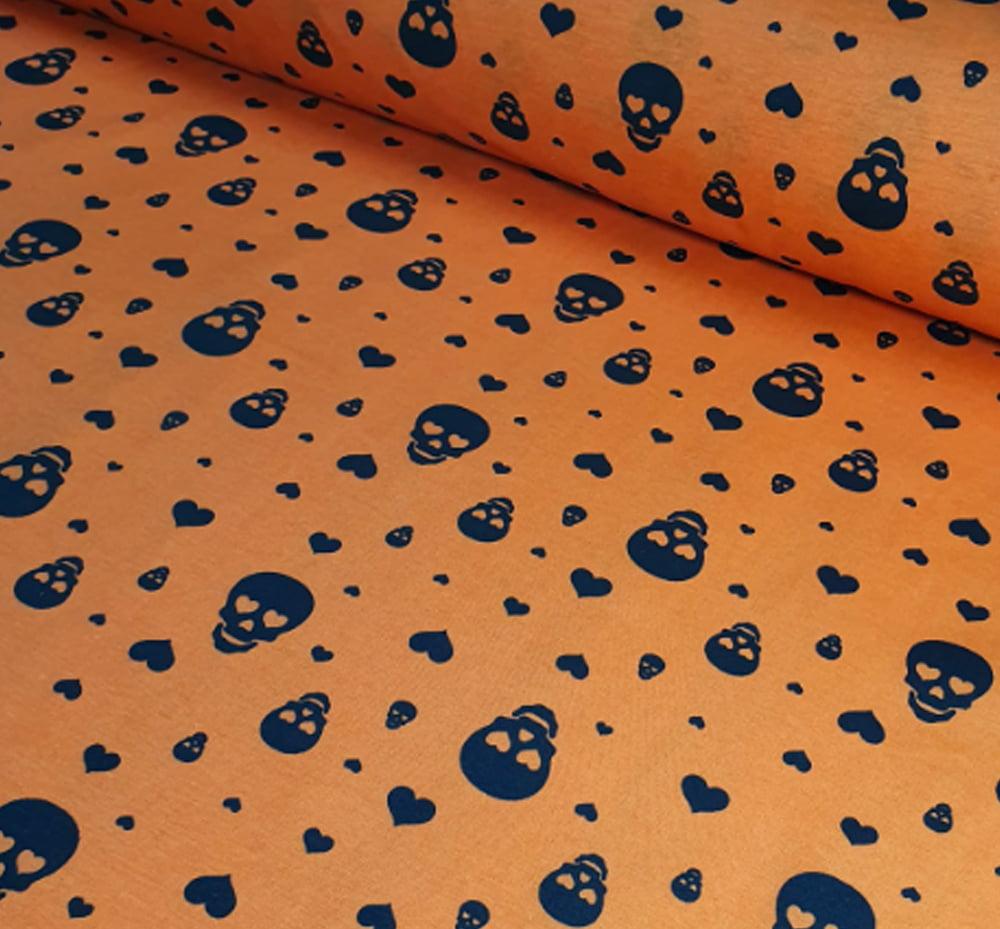 Tricoline Mista Halloween Caveira Laranja