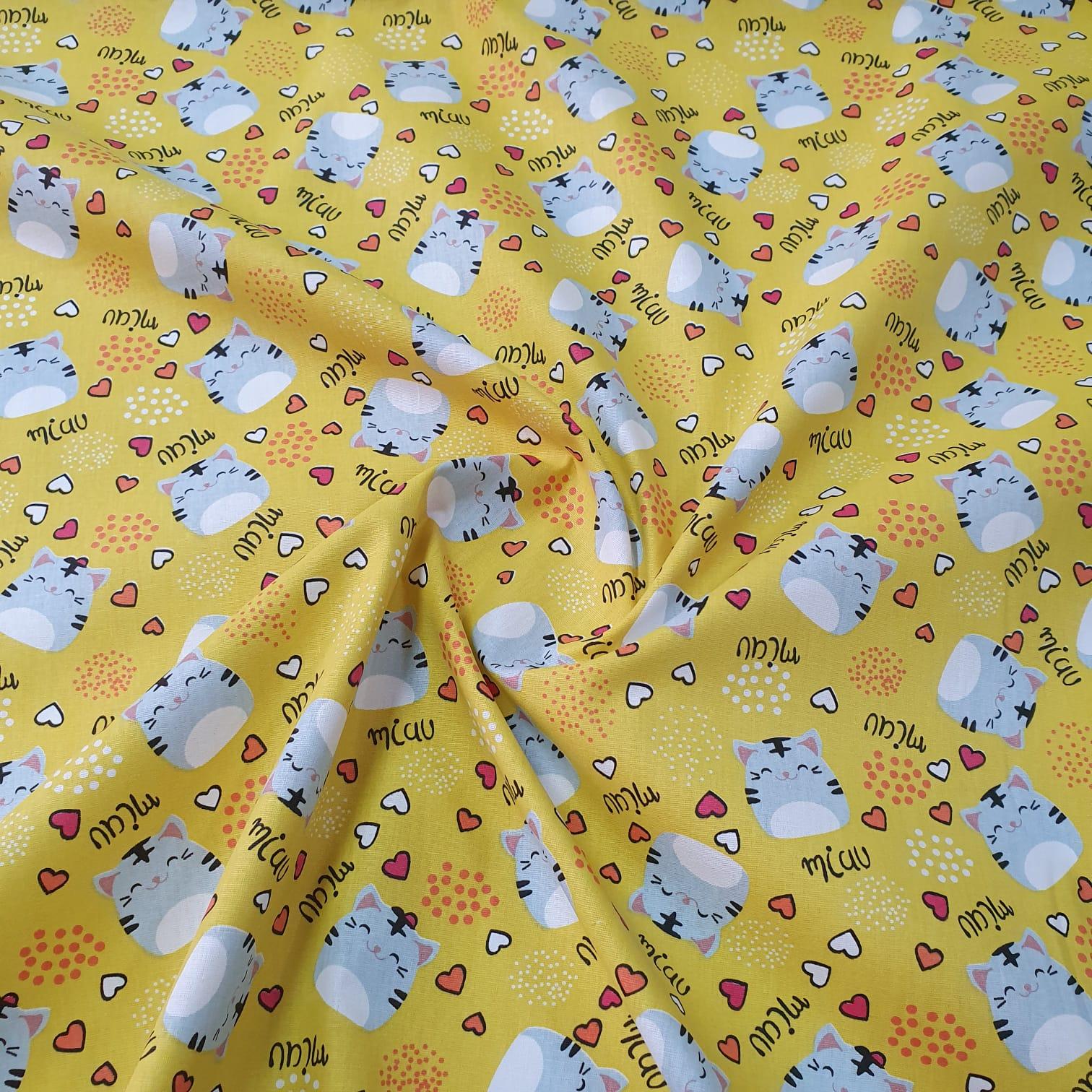 Tricoline Miau Miau Amarelo