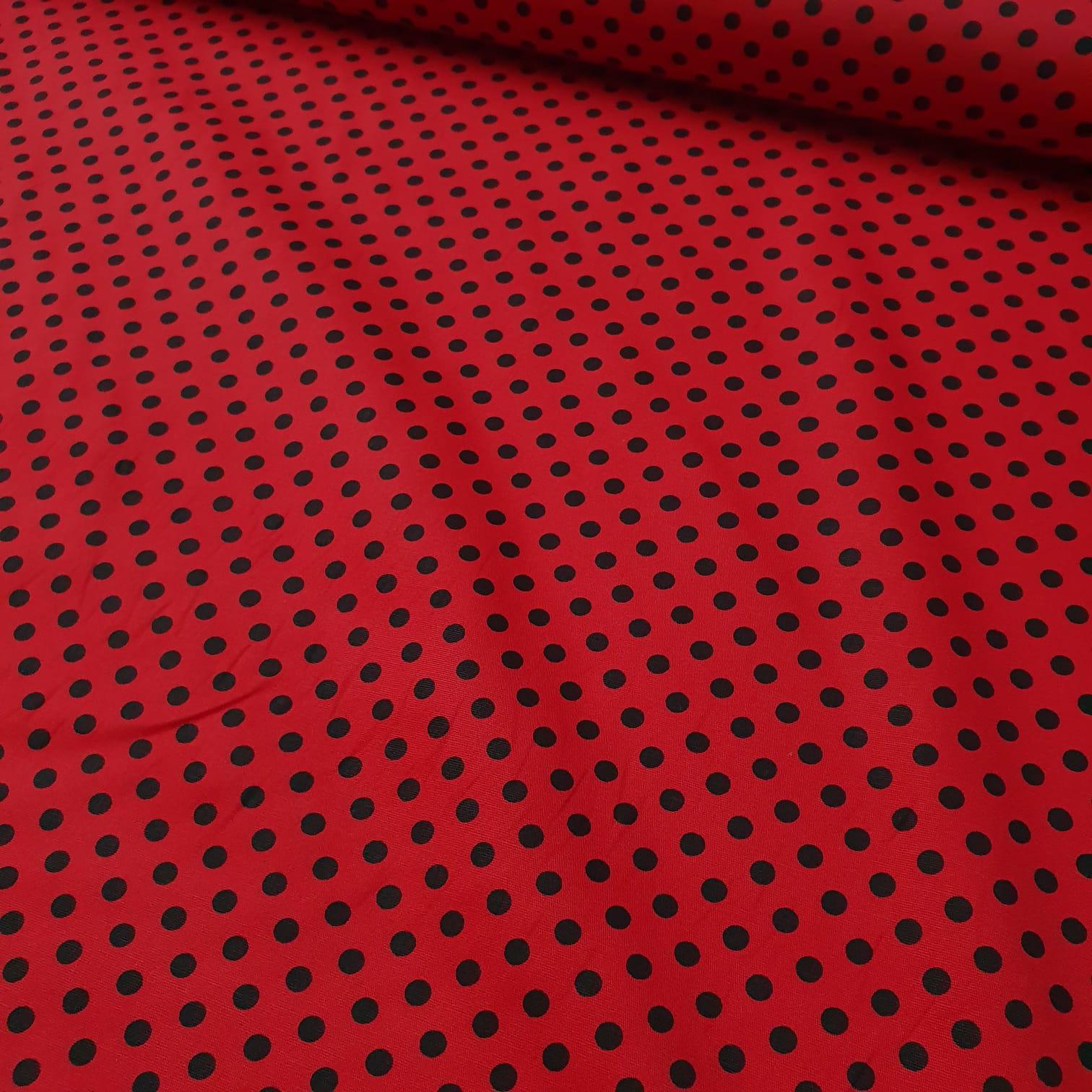 Tricoline Poá Vermelho com Preto
