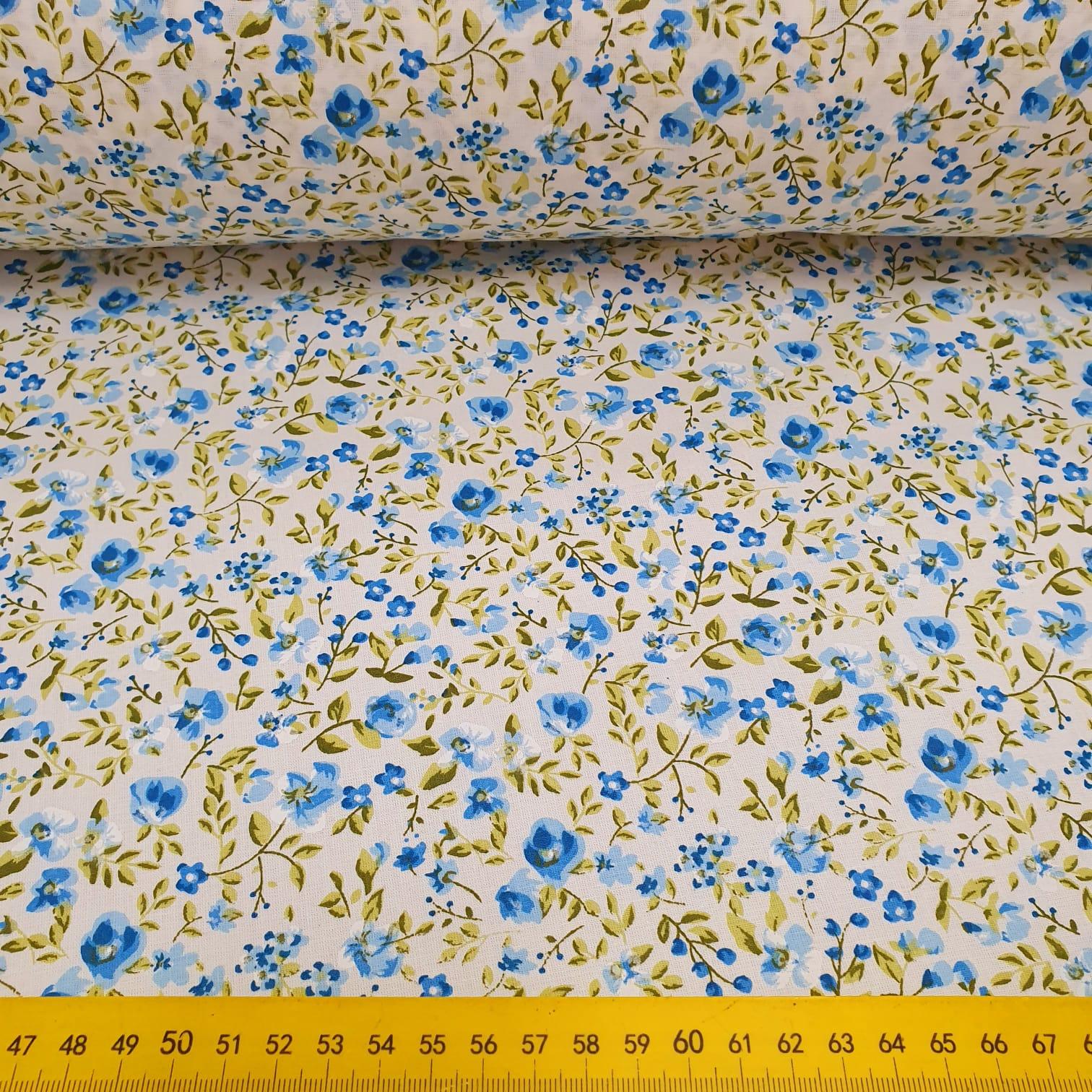 Tricoline Florzinha Azul