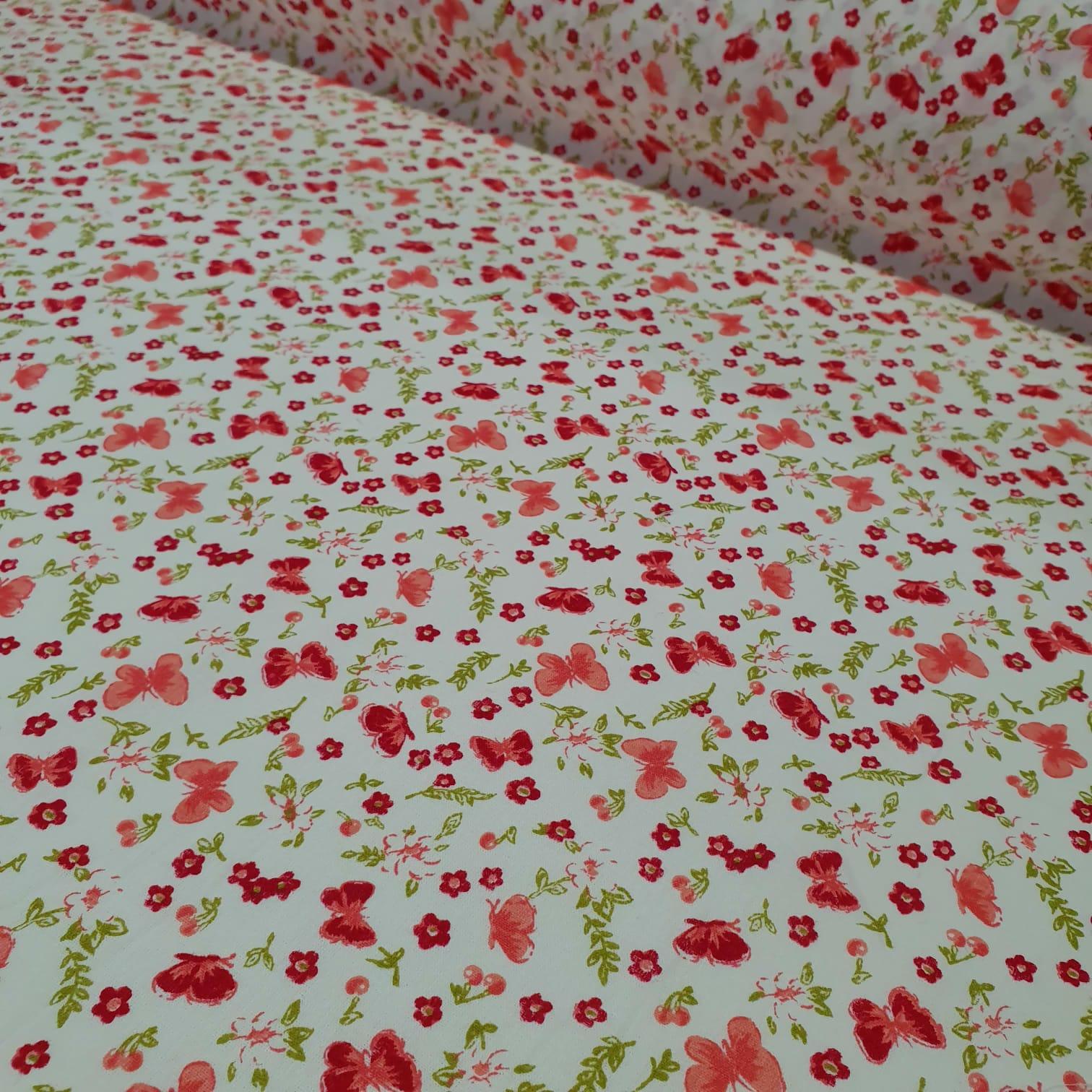 Tricoline Mini Floral Vermelha