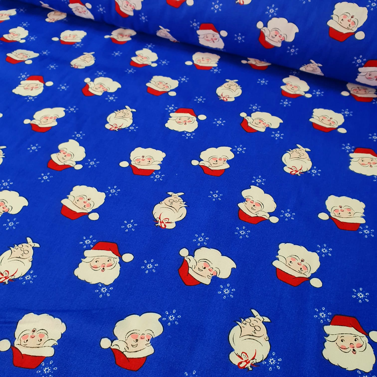 Tricoline Papai Noel Mamãe Noel Azul